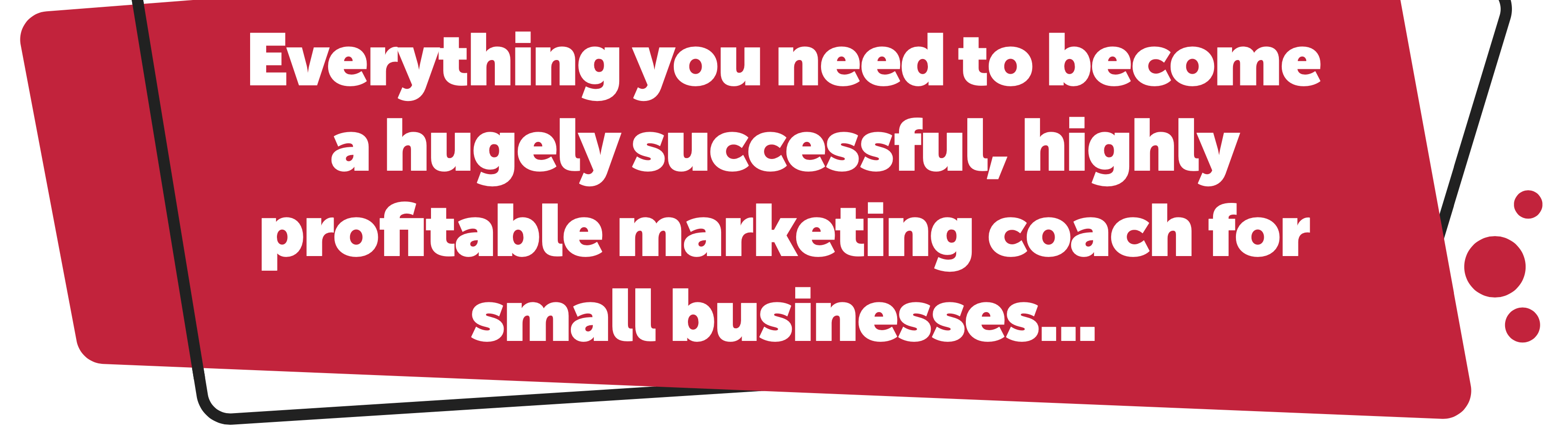 Everything you need to become a highly successful, highly profitable marketing coach for small businesses