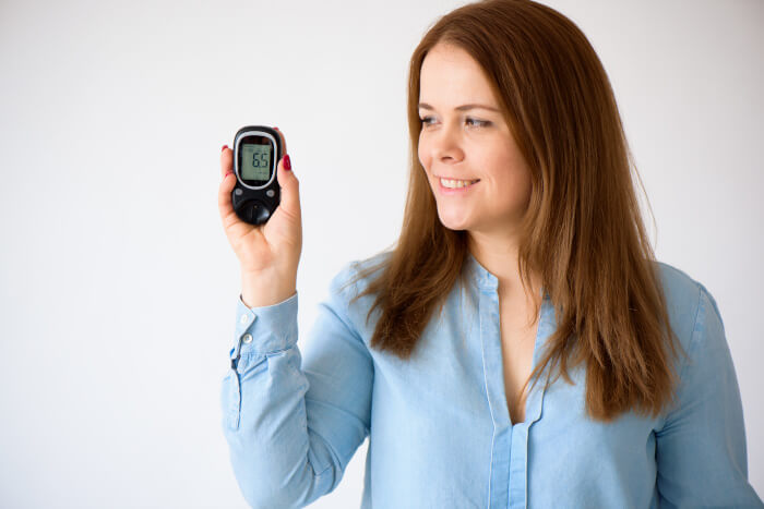Woman with pump monitor