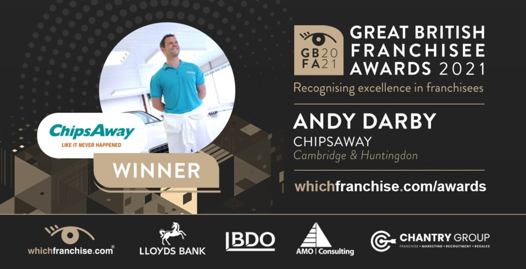 ChipsAway franchisee, Andy Darby named as a winner in the first Great British Franchisee Awards